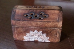Wooden cone chest with mandala