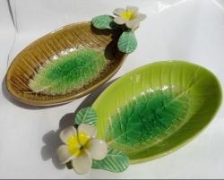 Ceramic Frangi  on deep leaf - Click for more info