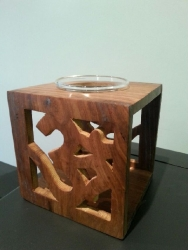 Oil burner, wooden Om