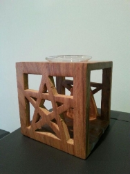Oil burner, wooden Pentagram