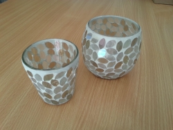 Candle hldr, small silver/wht