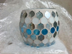 Candle hldr, silver/blue/white