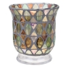 Candle hldr, lg green mosaic