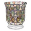 Candle hldr, lg green mosaic