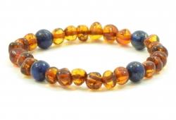 Amber bracelet cognac & lapis