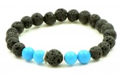Amber bracelet lava/turq&Silve