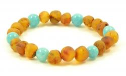 Amber bracelet cognac&aquamari