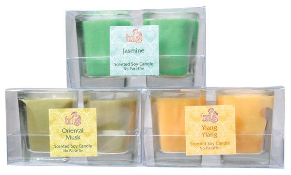 Votives in glass, 2 pack soy